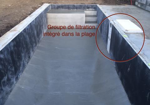 Groupe de filtration intégré dans la plage du couloir de nage