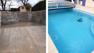 Rénovation d'une piscine par Desjoyaux Poitiers avant-après